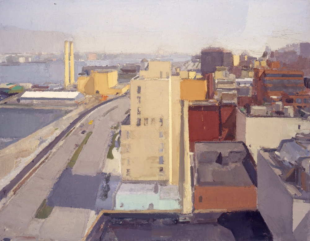 John Dubrow, Westbeth View North, 2001—06, oil on linen, 42 x 54 inches (courtes