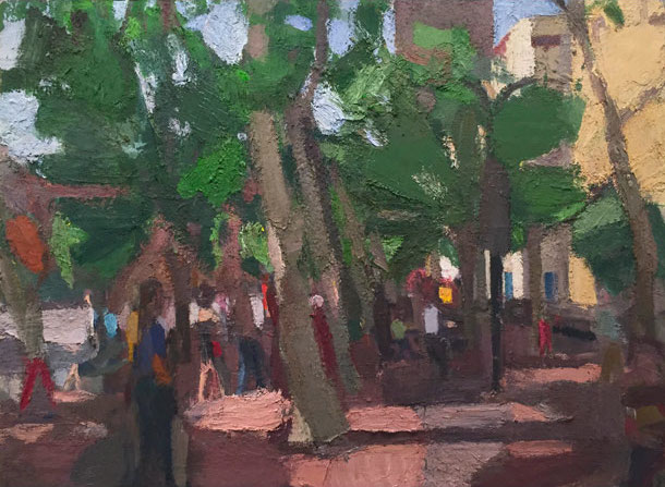 John Dubrow, Leaning Trees, Early Morning 40 x 54 inches, oil on linen, 2013-15