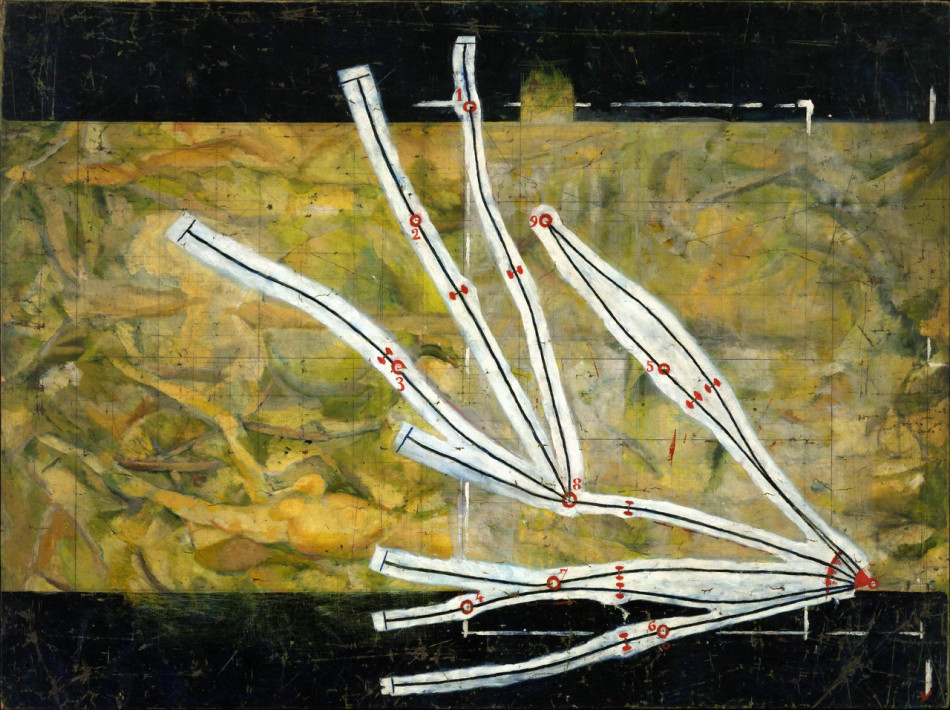 Marcel Duchamp, Network of Stoppages, 1914, oil and pencil on canvas, 58 5/8 x 7