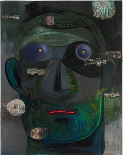 Nicole Eisenman, Guy Capitalist, 2011, oil and cut-and-pasted printed paper on c