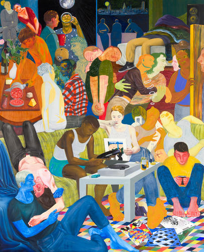Nicole Eisenman, Another Green World, 2015 , oil on canvas, 128 x 106 inches (courtesy of Anton Kern Gallery)