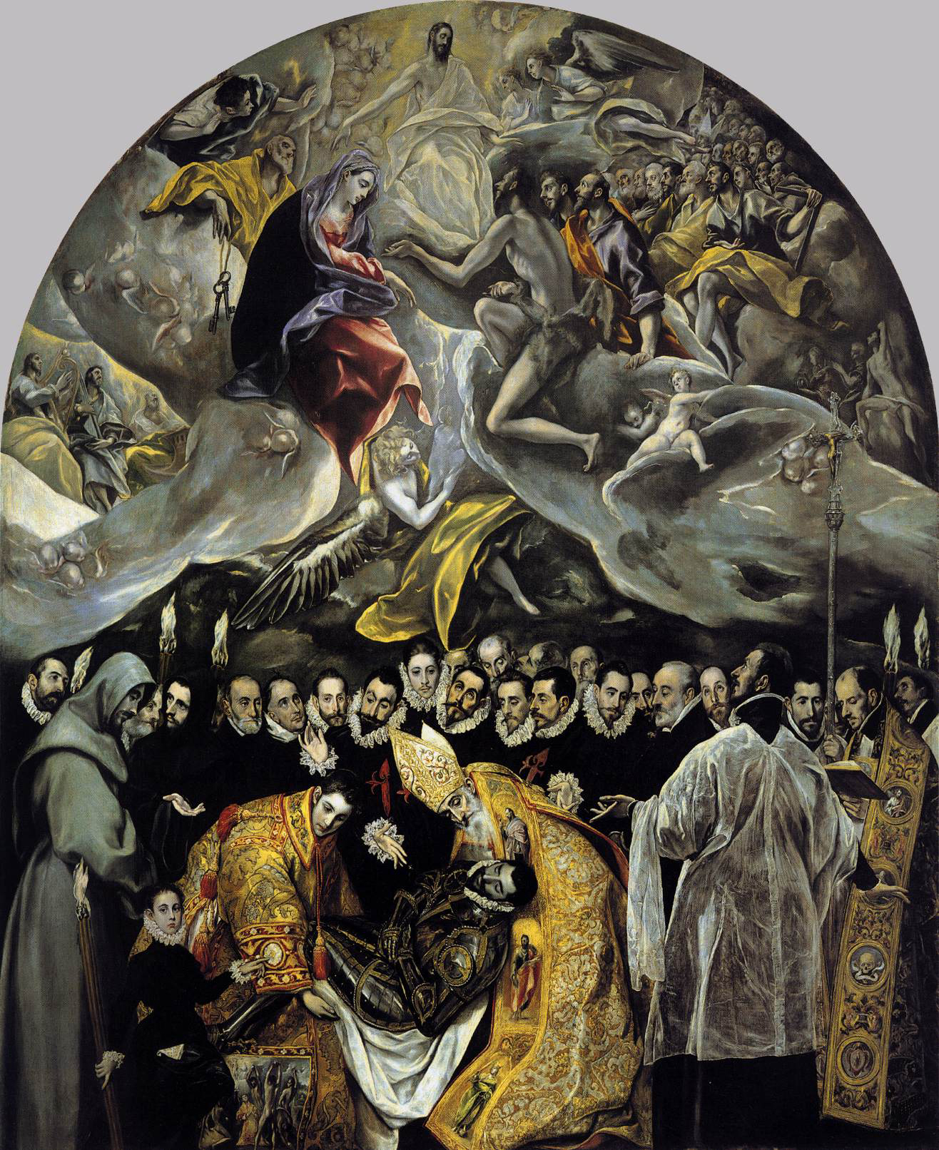 El Greco, 1586, oil on canvas, 180 in × 140 inches, Santo Tomé, Toledo, Spain