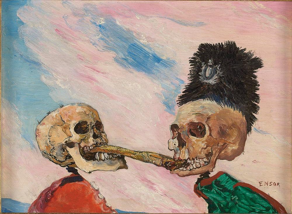James Ensor, Skeletons Fighting over a Pickled Herring, 1891, oil on panel, 16 x 21.5 cm (Photo © Musées royaux des Beaux-Arts de Belgique, Brussels, photo: J. Geleyns - Ro scan / © DACS 2016)