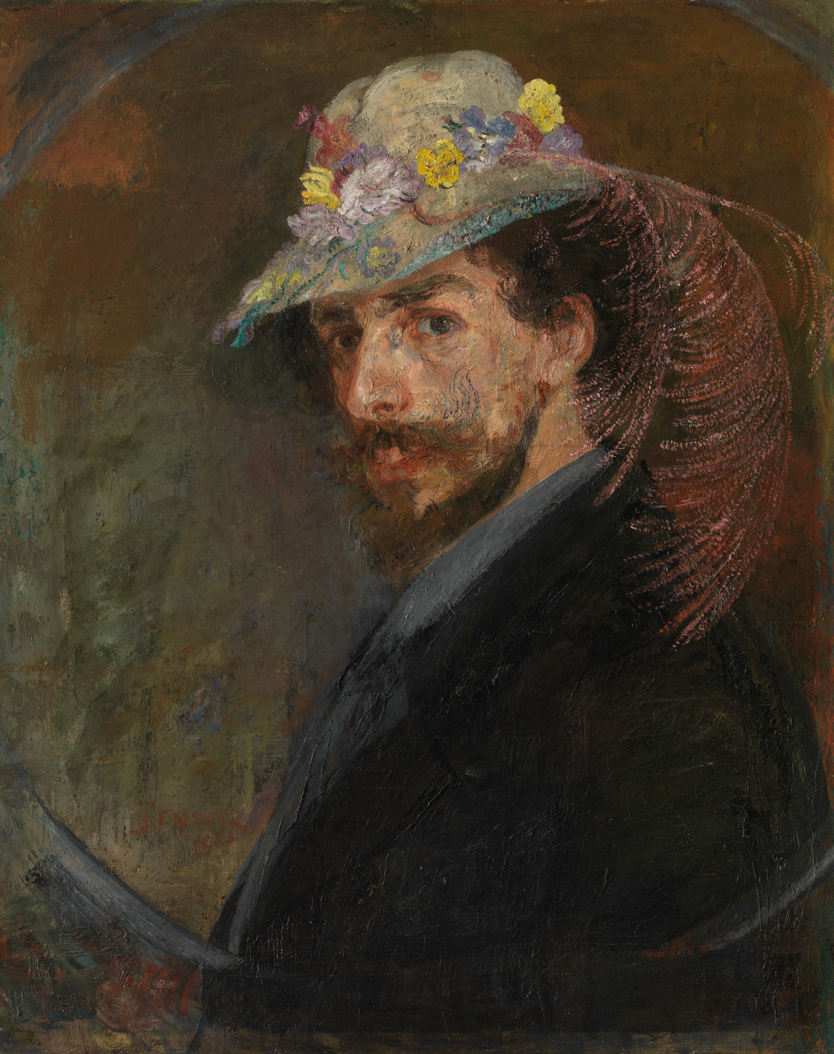 James Ensor, Self-portrait with Flowered Hat, 1883, oil on canvas, 76.5 x 61.5 cm (Photo Mu.ZEE © www.lukasweb.be - Art in Flanders vzw, photography: Hugo Maertens / © DACS 2016)