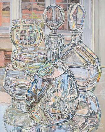 Janet Fish, Afternoon Reflections, June and September, 1978, oil on linen, 60 x