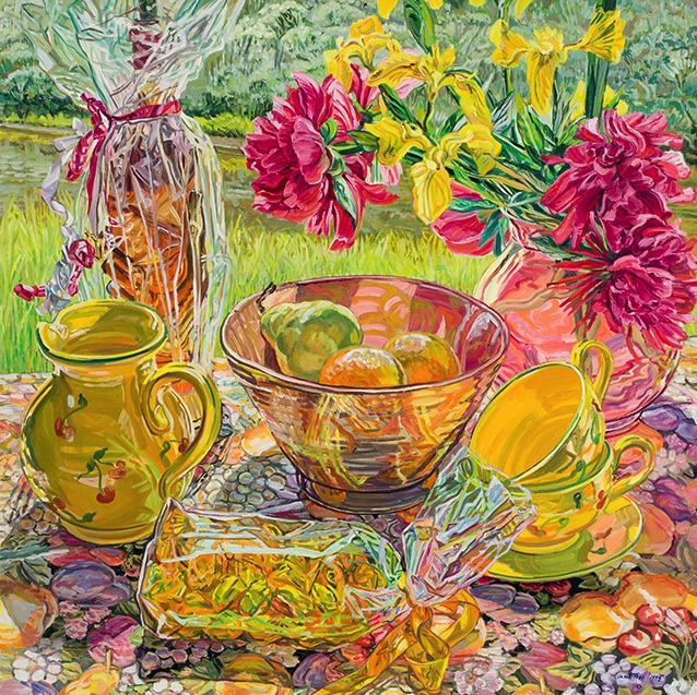 Janet Fish, Provence, 1995, oil on linen, 50 x 50 inches (courtesy of DC Moore G