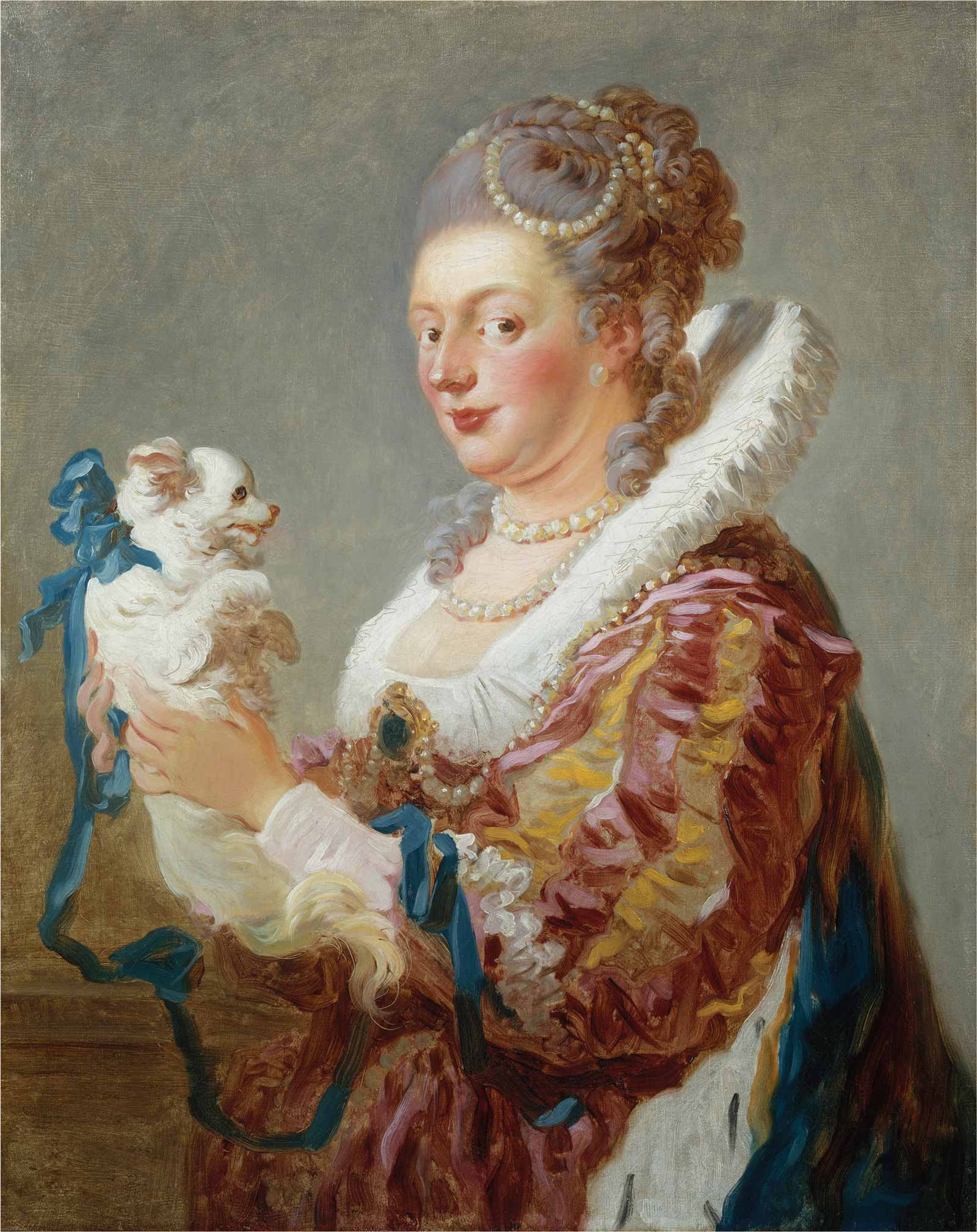 Jean Honoré Fragonard: Woman with a Dog, identified as Marie-Émilie Coignet de Courson (1727–1806), circa 1769 (Metropolitan Museum of Art/Art Resource, NY)