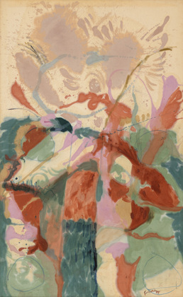 Helen Frankenthaler,  Jacob's Ladder, 1957, oil on canvas, 113 ⅜ x 69 ⅞ inches (