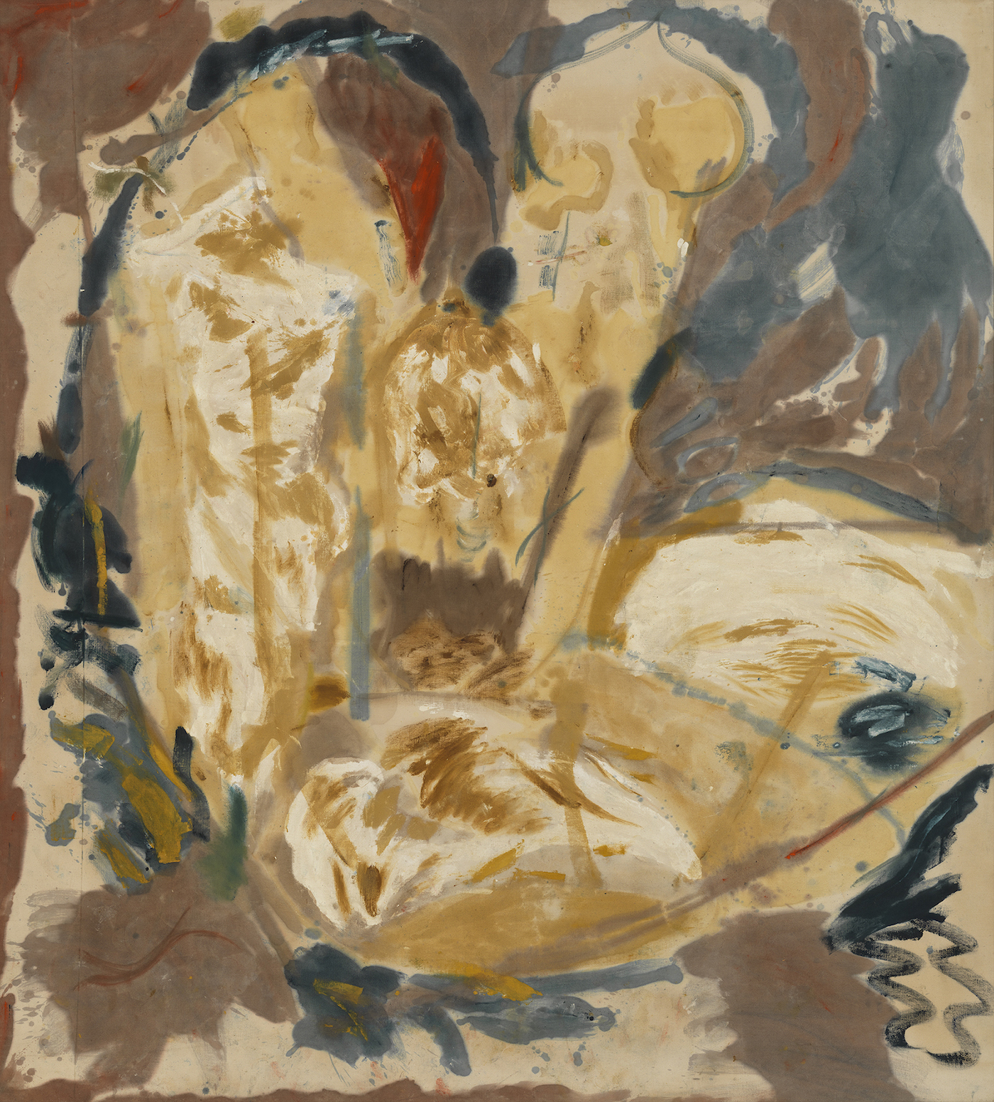 Helen Frankenthaler, Giralda, 1956, oil on unsized, unprimed canvas, 94 x 83 1/2 inches (Helen Frankenthaler Foundation (© 2017 Helen Frankenthaler Foundation, Inc. / Artists Rights Society (ARS), New York)