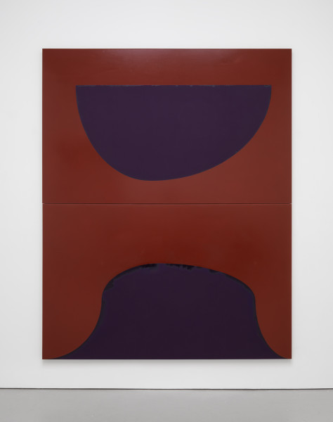 Suzan Frecon, earth takes its guidelines, 2014, oil on linen, two panels overall