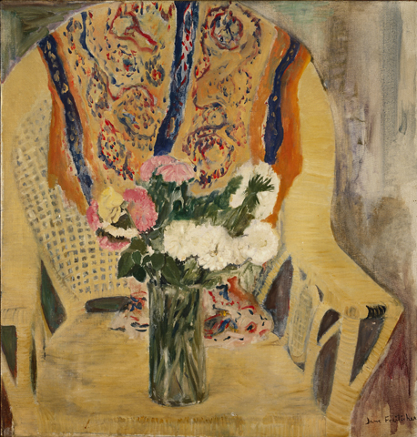 Jane Freilicher, Flowers in Armchair, oil on linen, 1956, 30 x 29 inches (courte