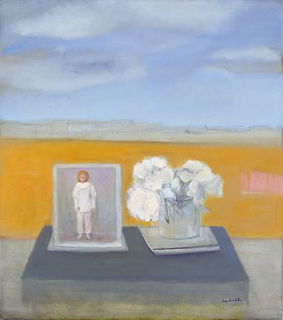 Jane Freilicher, Pierrot and Peonies, 2007, oil on linen, 36 x 32 inches, Privat