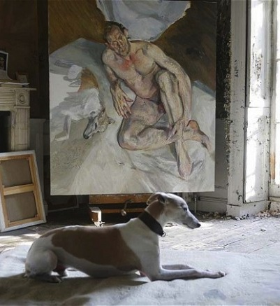 (detail) Unfinished 'Portrait of the Hound,' 2011 (courtesy of Lucien Freud / Na