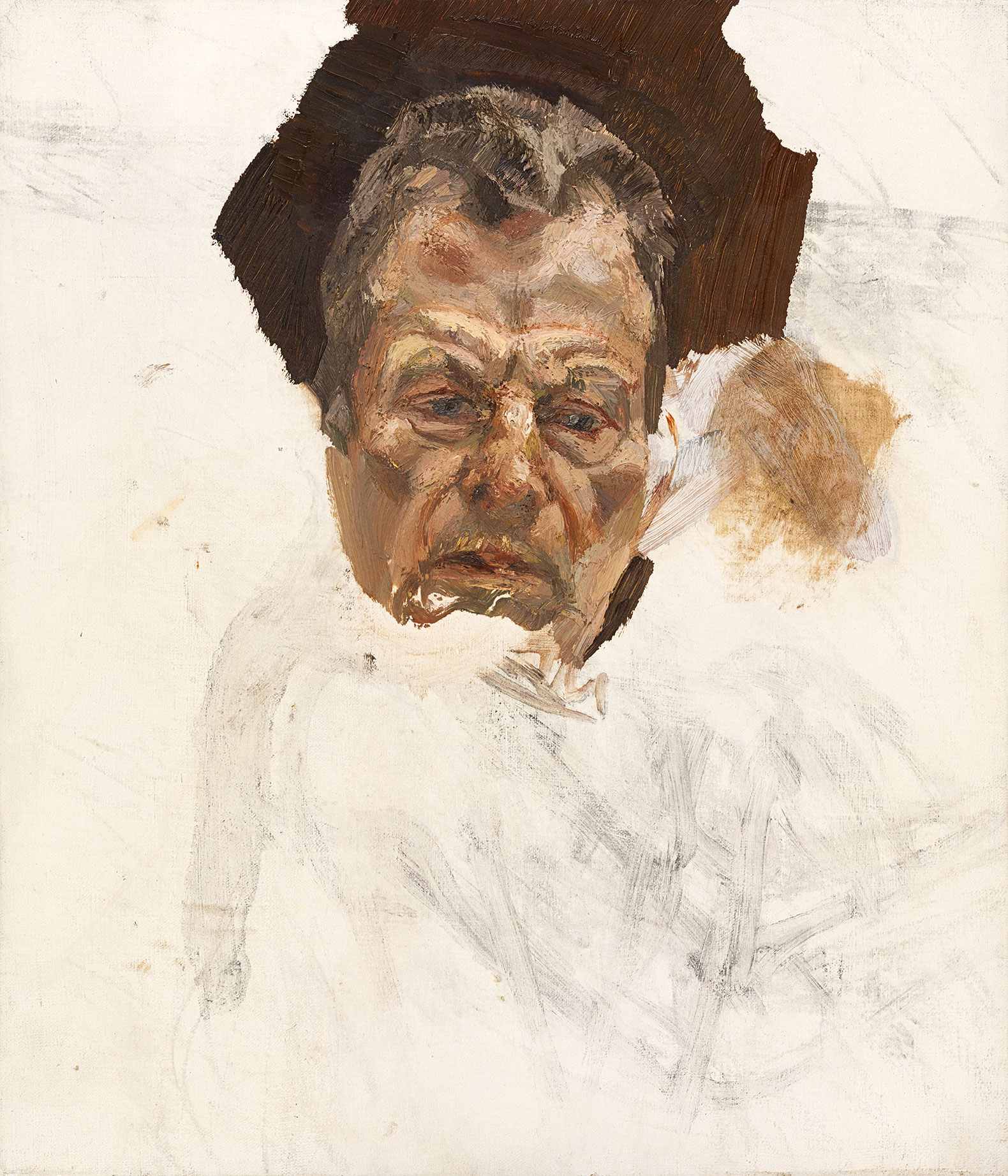 Lucian Freud, Unfinished self-portrait, c. 1980 (Estate of Lucian Freud/National Portrait Gallery, London/The Lucian Freud Archive)