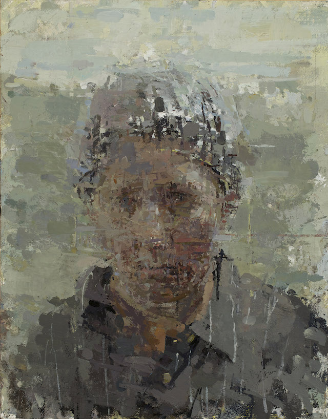 Ann Gale, Portrait with Cap, 2014, oil on linen with wrapped masonite (courtesy