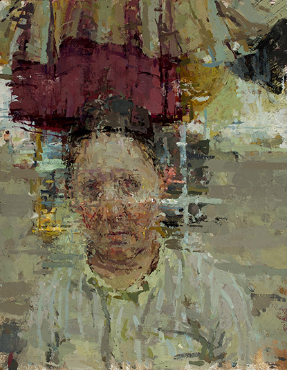 Ann Gale, Self portrait with purple, 2016, oil on linen-wrapped panel, 14 x 11 i