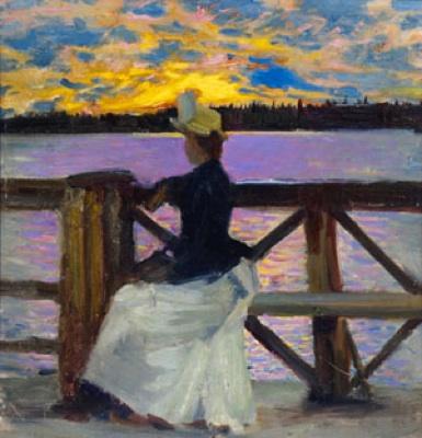 Akseli Gallen–Kallela, Mary Gallen on the Kuhmoniemi Bridge, 1890, Oil on Wood,