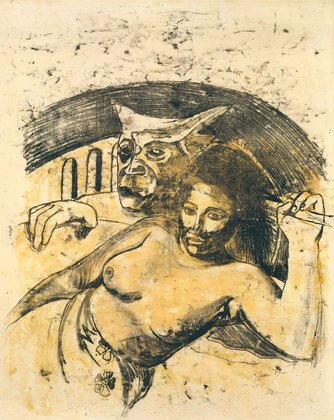 Paul Gauguin, Tahitian Woman with Evil Spirit, c. 1900, oil transfer drawing, 22