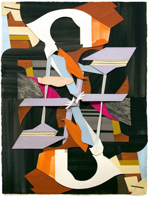 Jim Gaylord, Mirror Repair, 2013, gouache on cutout paper, 30 x 22 inches (court