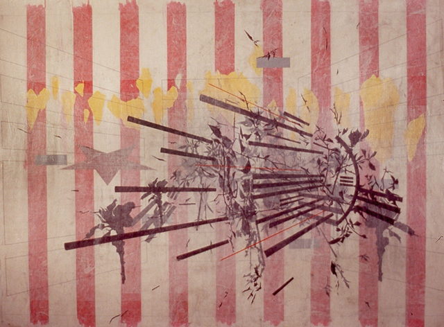 Geoffrey Detrani, Souvenirs & Barricades, 2010 pencil, ink, acrylic on paper mou
