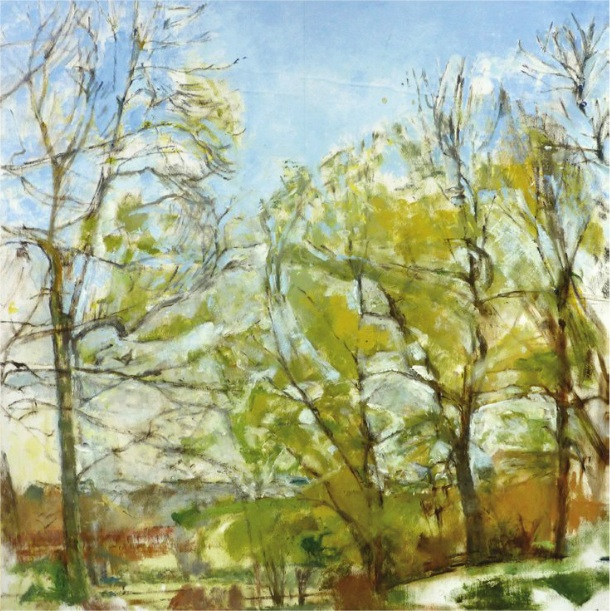 Patrick George, Ash Trees Around the Pond, oil on board, 25 3/8 x 25 1/4 inches