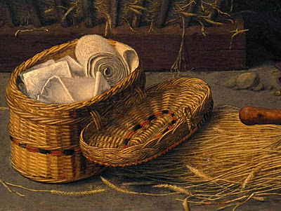 (detail) Gerard David, The Nativity with Donors and Saints Jerome and Leonard, c