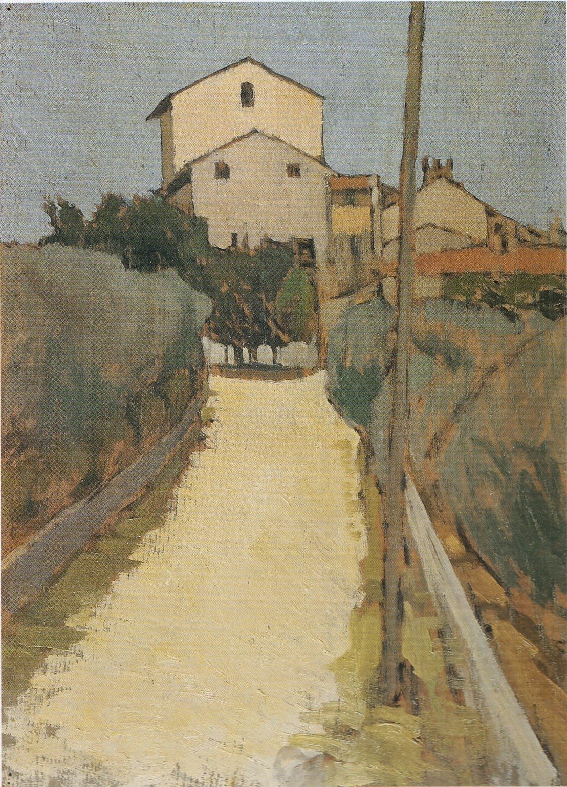 Oscar Ghiglia, View of Villa d'Ancona a Volognano, oil on panel, 39 x 28.5 inche