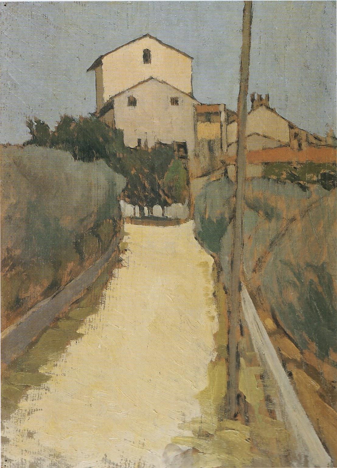 Oscar Ghiglia, View of Villa d'Ancona a Volognano, oil on panel, 39 x 28.5 inche