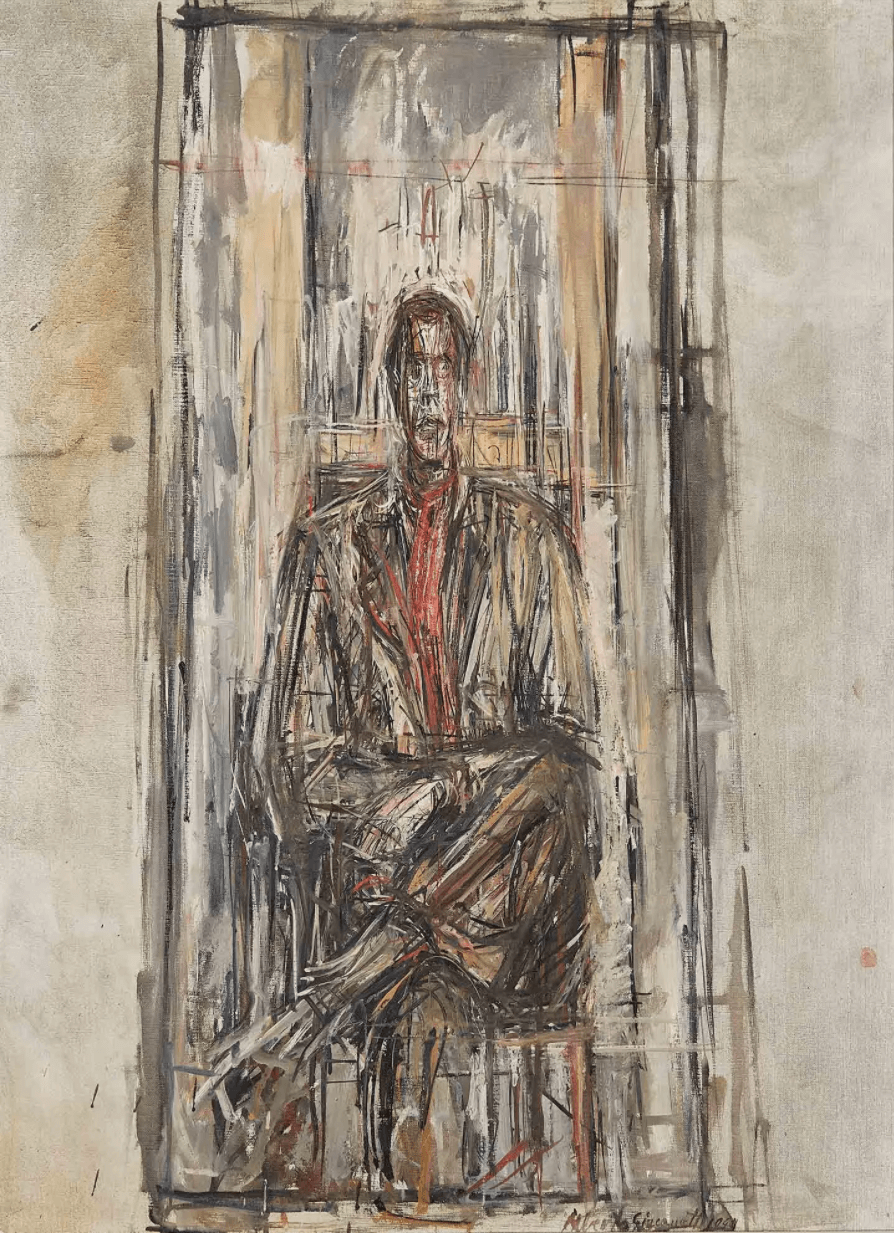Alberto Giacometti, Diego Seated, 1948, oil on canvas (©2017 Alberto Giacometti Foundation, ACS, and DACS/Sainsbury Centre for the Visual Arts, Norwich)