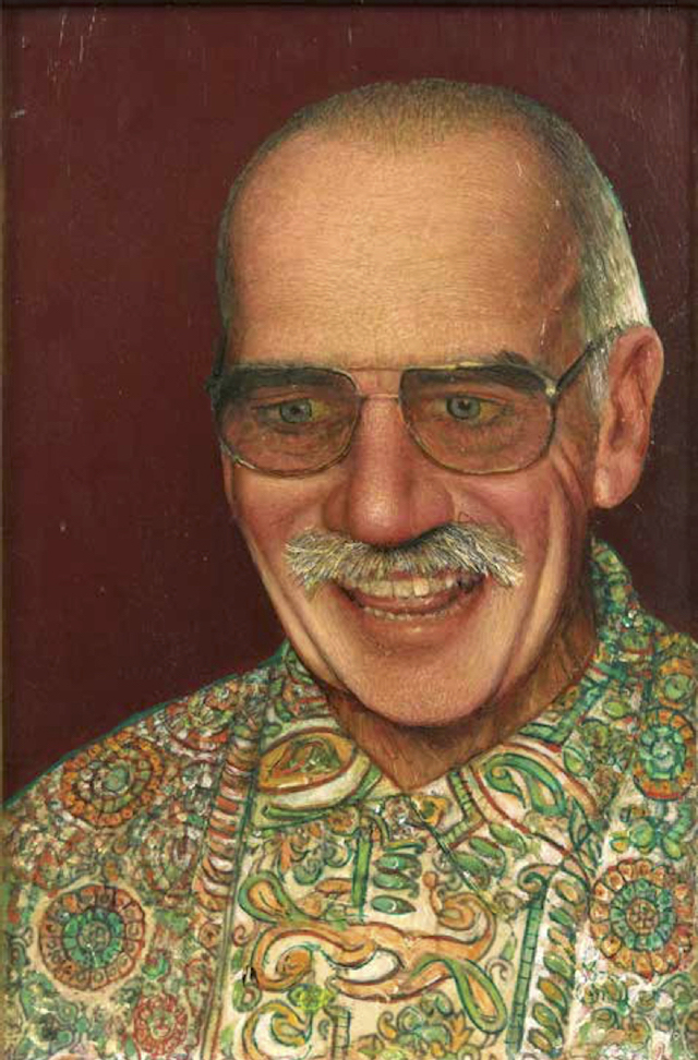 Gregory Gillespie, Self Portrait with Paisley Shirt, 1999-2000, oil on panel, 15