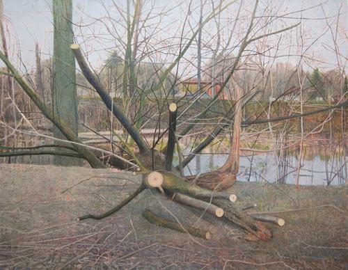 Sky Glabush, Cut Tree, oil on canvas, 84 x 108 inches, 2011 (courtesy of Dr. Dav