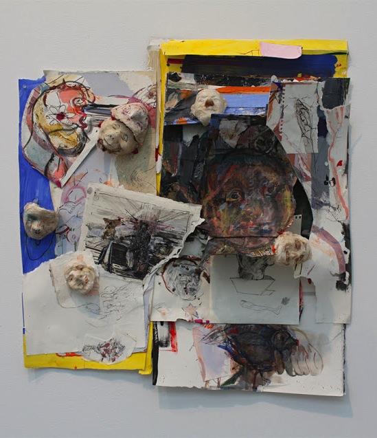 Judy Glantzman, The Thinker, 2013, mixed media, 31 1/4 x 29 1/2 inches (courtesy