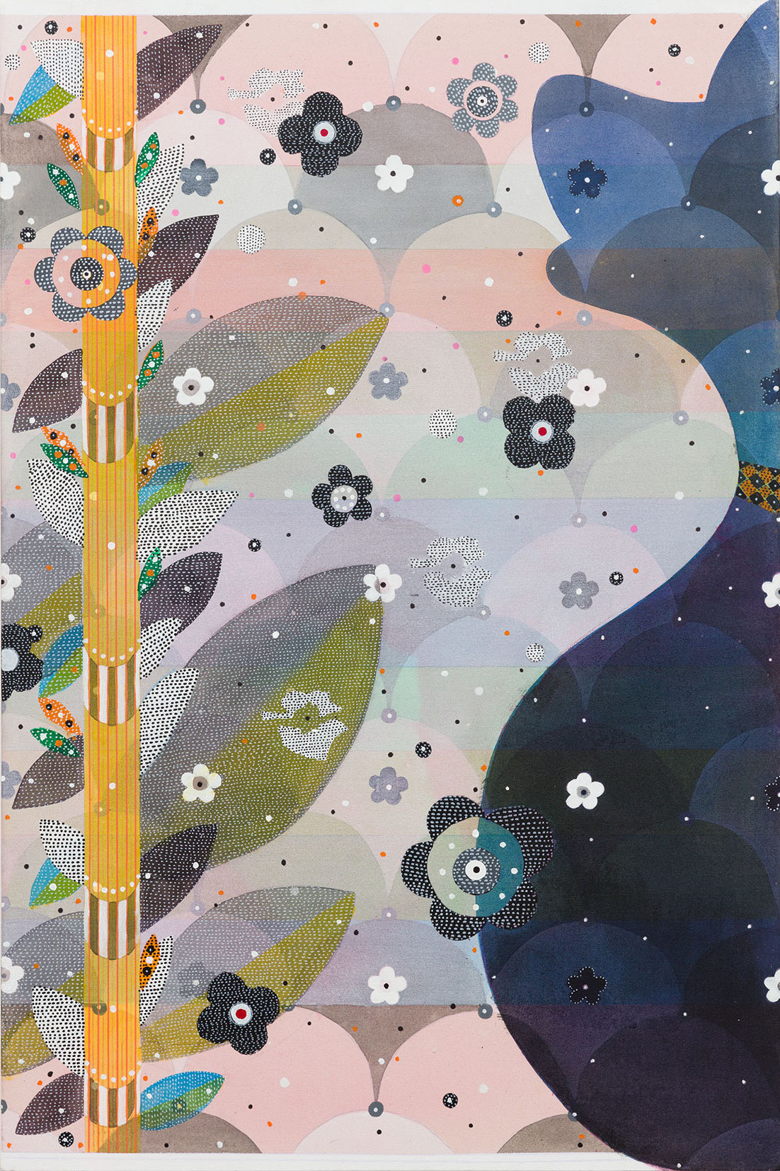Glenn Goldberg, Glenn Goldberg, Okay (Blue), 2016, acrylic, gesso, ink, and pencil on canvas, 60 x 40 inches (courtesy of Charlie James Gallery)