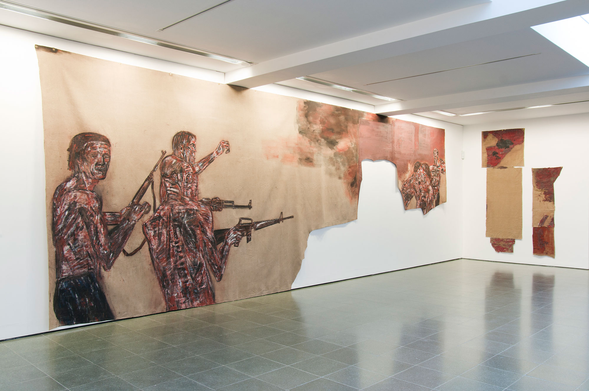Installation view, Leon Golub: Bite Your Tongue at the Serpentine Gallery, Londo