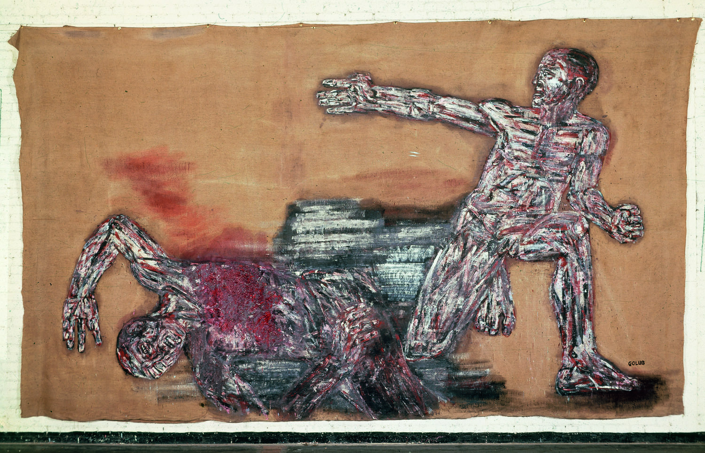 Leon Golub, Napalm I, 1969, acrylic on linen, 117 1/4 x 213 inches (courtesy of