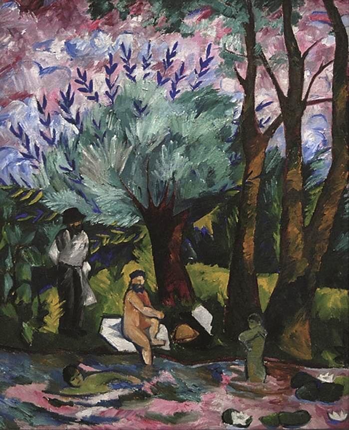 Natalia Sergeyevna Goncharova, Boys Bathing,1911, oil on canvas, 45 1/2 x 37 inc