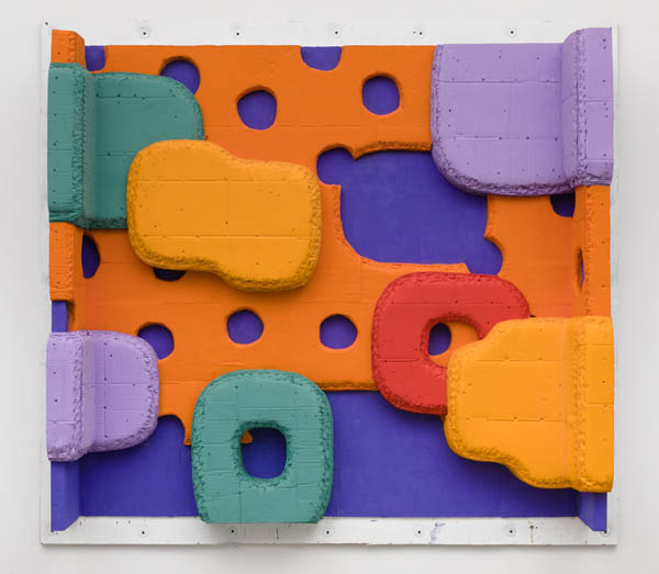 Guy Goodwin, Popsicle Grotto, 2017, acrylic and tempera on cardboard, 79 × 72 × 13 1/4 inches (courtesy of Brennan & Griffin)