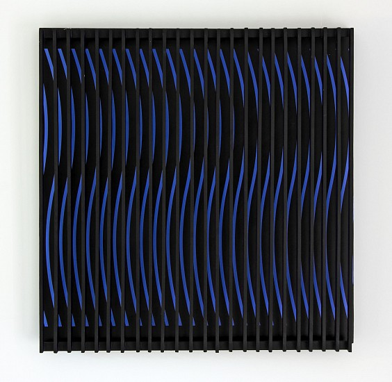 John Goodyear, Blue and Brown Kinetic Construction, 1964, 24 x 24 x 5 inches (Co