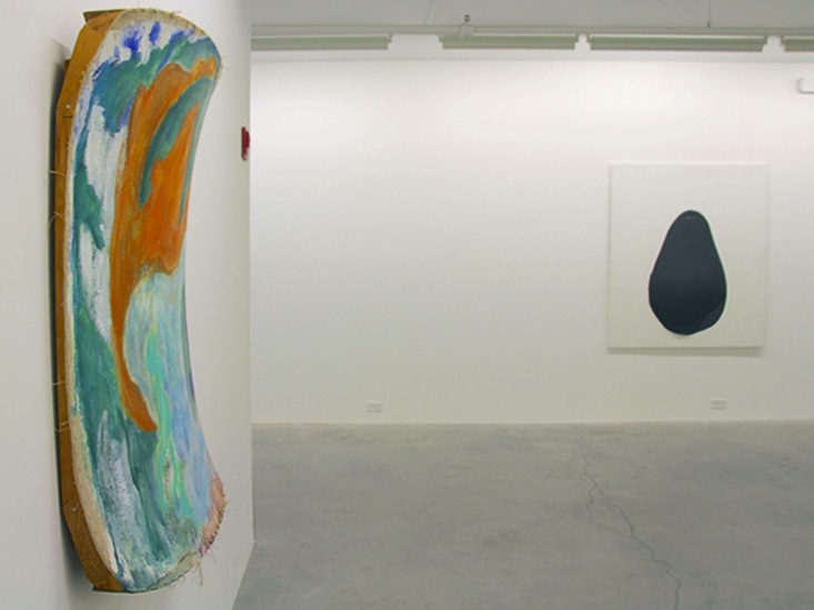 Installation view of Painting Toward Three Dimensions, foreground: Ron Gorchov,