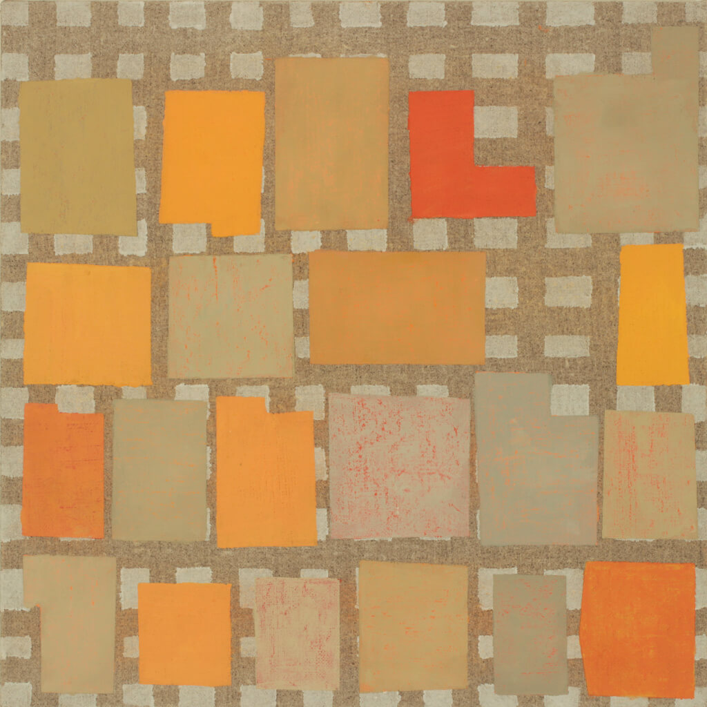 Elizabeth Gourlay, naranja note, 2015, flashe on linen over panel, 12 x 12 inche