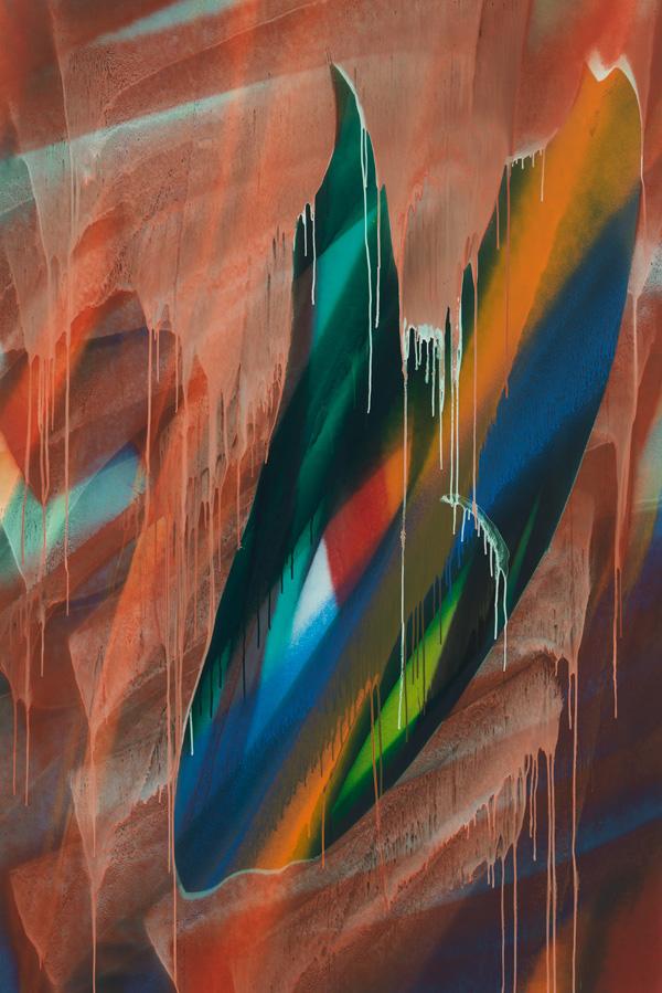Katharina Grosse, Untitled, 2016, acrylic on canvas, 114 3/16 × 76 inches (© Katharina Grosse und VG Bild-Kunst, Bonn 2016, photo: Jens Ziehe, Courtesy of Gagosian)