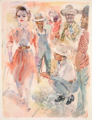 In Front of the Hotel, 1952 George Grosz, German. Watercolor Sheet dimensions: 1