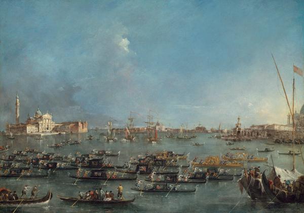 Francesco Guardi, Procession of Gondolas in the Bacino di San Marco, c. 1780–93,