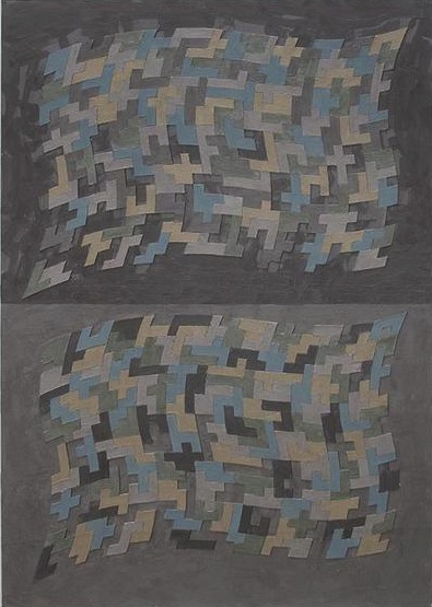 Don Gummer, States, encaustic and collage on mat-board, 2009, 48 1/8 x 36 x 2 in