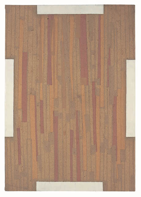 Marcia Hafif, G., (Bread), 1962, lacquer, tape and paper pasted on wood, 39 3/8