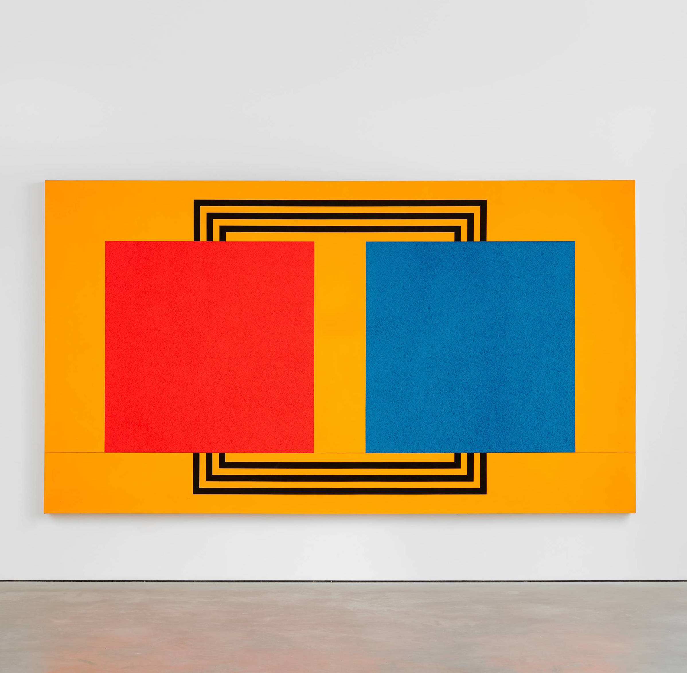 Peter Halley, Two Cells With Circulating Conduit, 1987, acrylic, fluorescent acrylic, Roll-a-Tex on canvas, 77 1/8 x 138 1/4 inches (courtesy of Modern Art, London)
