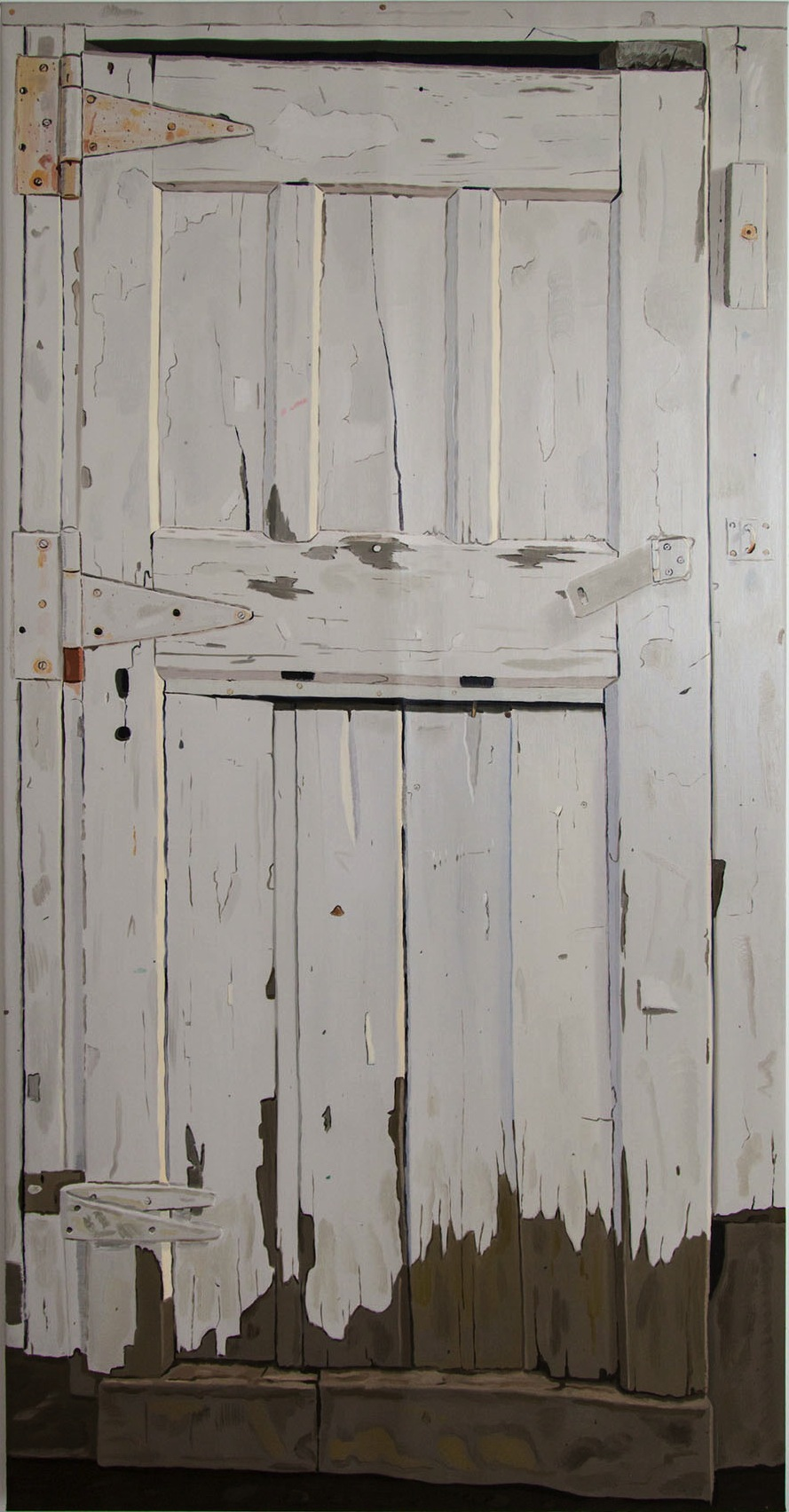 Josephine Halvorson, Woodshed (Door), 2013, oil on linen, 70 x 35 inches (courte