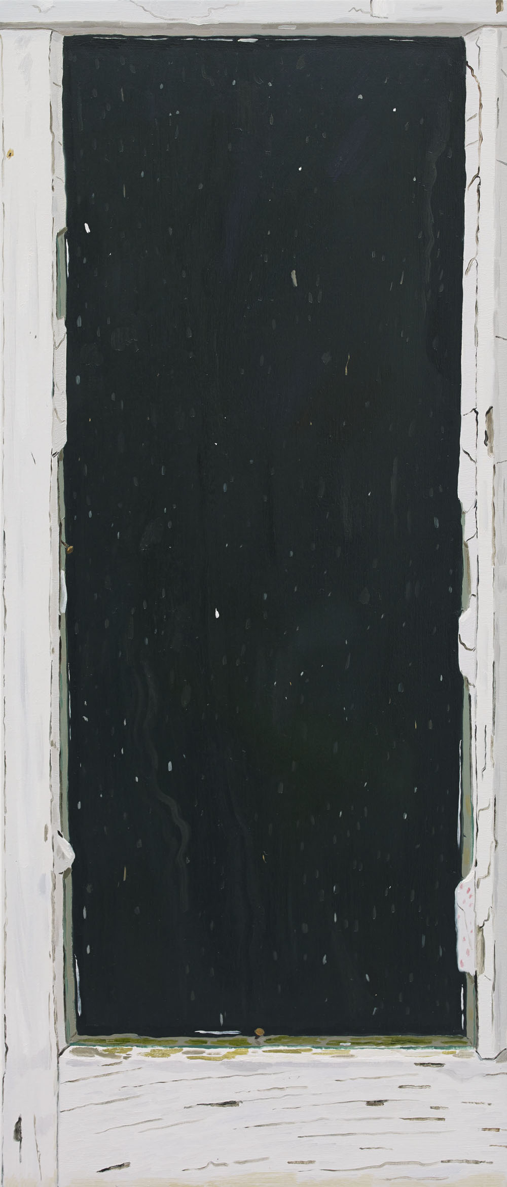 Josephine Halvorson, Woodshed Window (North Facing), 2014, oil on linen, 35 x 15