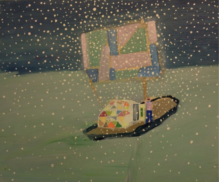 Tom Hammick, Raft Study, acrylic on board, 38 x 46 cm (courtesy of Phoenix Brigh