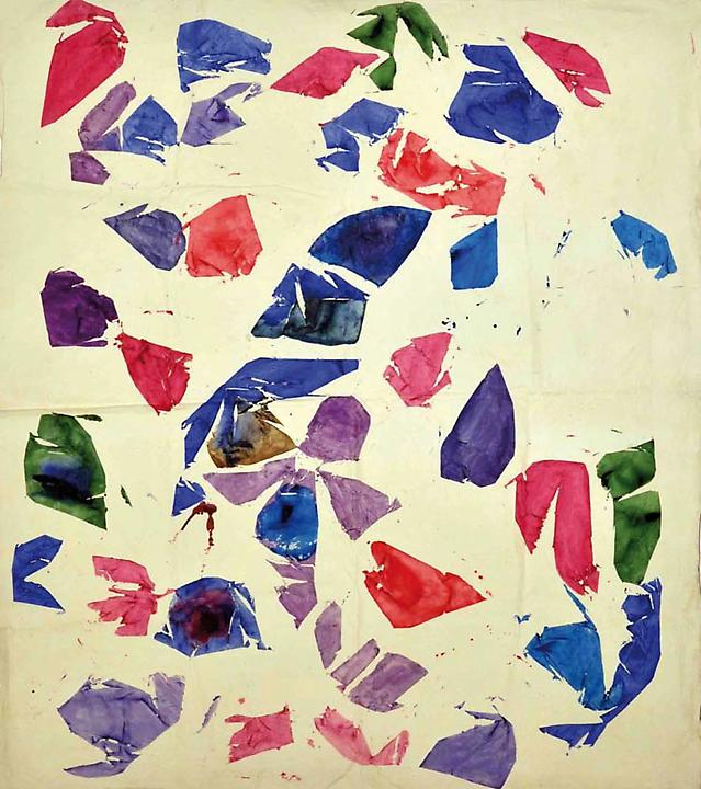 Simon Hantaï, Blanc, 1974, acrylic paint on canvas, 91 1/4 x 103 inches (courtes